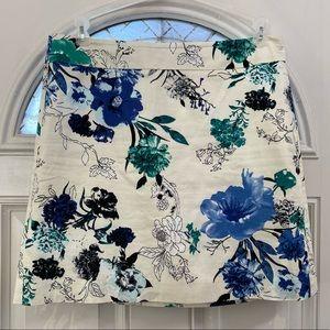 LOFT Blue Green Floral Cotton Skirt